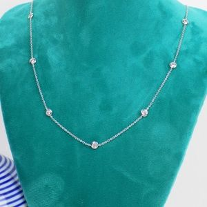 sterling silver cubic zirconia layering necklace